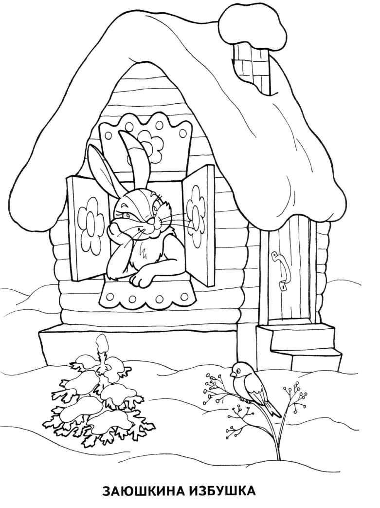 раскраска берёза зимой